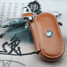 BMW Leather Key Cover Case Holder Ring Chain Fob Small Brown!