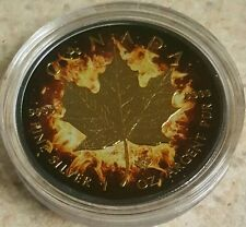 2014 1 Oz Ounce Silver Maple Leaf Coin .999 Ruthenium Gold Gilded Colorized Fire