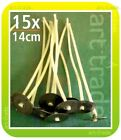 15 pcs x 14 cm (140 mm) CANDLE COTTON WICKS PRE WAXED WITH SUSTAINERS