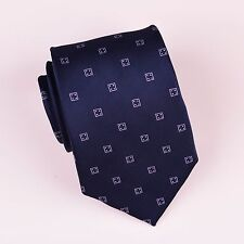 Navy Four Dice Lucky Boss Woven Tie Formal Business Designer Luxury Fashion Top