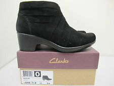 CLARKS Malia Hue Women's Ankle Boots BLACK Suede US 7.5 W UK 5E EU 38W
