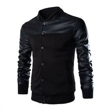 Men's Slim Fit PU Leather Sleeve  Motorcycle jacket Coat Tops Autumn Fashion New