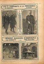 Candidats Elections présidentielle Raymond Poincaré & Ribot 1913 ILLUSTRATION