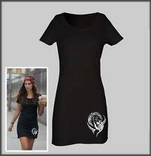 SLED DOG SPIRIT BLACK T SHIRT DRESS TRIBAL HUSKY MOON SIBERIAN HUSKIES WOLF NEW