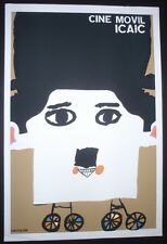 Famed CUBAN Silkscreen Poster with Charlie Chaplin Saluting Cuba Movie Campaign