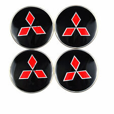 4x Sticker Black/ Red Mitsubishi 3D Style Wheel Center Hub Cap Badge Emblem 56mm