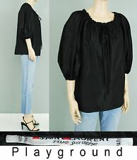 Vintage 70's Yves Saint Laurent Rive black taffeta gathered bishop blouse top