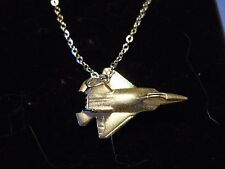 """Lockheed Martin F-22 Raptor Plane c148 On 18"""" Silver Plated Curb Chain Necklace"""