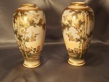 Antique Meiji 19th Century Satsuma Japanese Pottery vase Pair of Vases Signed
