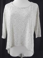 New Poof Sexy Deep Plunge Back Top White Tan High Low Womens Size Small