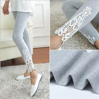 UK New Women's Sexy Lace Stretchy Skinny Cotton High Waist Leggings Pants Soft