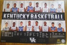 2013-14 UNIVERSITY KENTUCKY UK WILDCATS BASKETBALL POSTER SCHEDULE NCAA COLLEGE