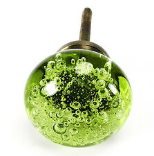 4 Green Glass Bubble Knob Kitchen Cabinet Drawer Pull Furniture Handle #K167AB