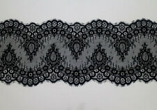 3 Meters Black French Style Chantilly Eyelash Double Edge Lace Trim Width 23cm