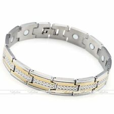 Punk Mens Stainless Steel Power Magnetic Magnet Therapy Bracelet Link Chain 8.5""