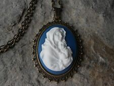 """VIRGIN MARY & BABY JESUS CAMEO PENDANT NECKLACE -BLUE - 2"""" - BRONZE- MOTHER MARY"""