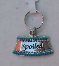 s SPOILED food bowl Cat Dog Heart Bling MY PET ENGRAVEABLE CHARM Tag Jewelry