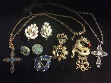 All Signed Rhinestone Jewelry Repair Lot Brooch Necklace Earrings