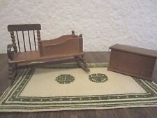 Lot 0f 2 Miniature Dollhouse Furniture Rocker/Cradle Combo and Toy Chest