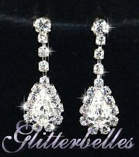Bridal Bridesmaids Wedding Prom Silver Crystal CHARMAINE EARRINGS *LOWER PRICE*