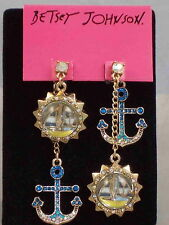 Betsey Johnson Gold SHIP SHAPE Pave' Anchor Sailboat Bauble Mismatch Earrings