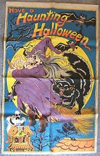 Vintage Have A Haunting Halloween Cloth Poster Ugly Witch Black Cat Bats Ghost