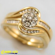 18ct Two Toned Gold Ring Set with 0.68 Carats of Diamonds Size R 1/2