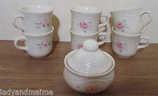 Pfaltzgraff SECRET ROSE Cups and Sugar Bowl   Made in the USA