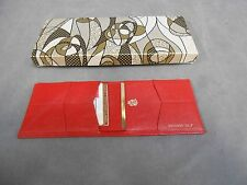 Unused Vintage Old King Cole Crushed Calf Leather Bi-fold Red Wallet