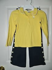 GYMBOREE girls Navy Blue Yellow DAISY FLOWER Pants Top OUTFIT* 6