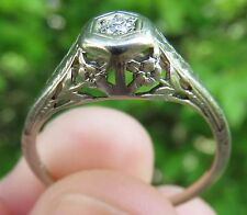 18K VINTAGE ANTIQUE ART DECO FLORAL FILIGREE OLD CUT DIAMOND ENGAGEMENT RING