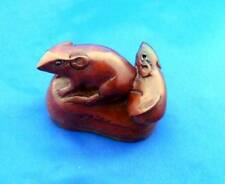 NETSUKE BOXWOOD HAND CARVED 2 MICE ON A SHOE UK SELLER FAST SHIPPING