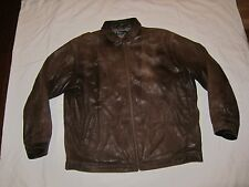 Polo Ralph Lauren  Distressed Leather Bomber Motorcycle Biker Jacket Brown XL