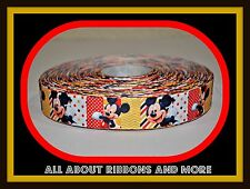 7/8 INCH MICKEY MOUSE SQUARES ON RED AND YELLOW GROSGRAIN RIBBON- 1 YARD