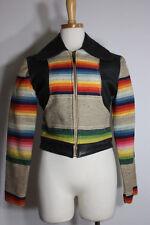 Vintage leather wool jacket S native indian southwestern east west handmade vtg