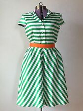 1950s 50s Style Dress Retro Vintage Green orange stripe University Miami small 6