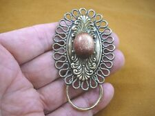(E-869) Goldstone oval scrolled brass Eyeglass pin pendant ID badge holder