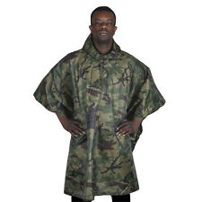 Fox Outdoors Mlitary Woodland Camo Ripstop Poncho With Carry Bag