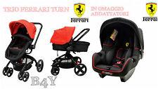 Trio Ferrari Turn Passeggino+ Navicella +Seggiolino Auto Beone SP + Adattatori