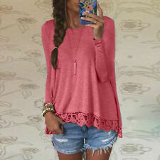 New Women's  Long Sleeve Lace T Shirt Blouse Ladies Casual Loose Tops UK Size