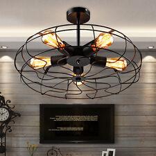 Industrial Vintage Metal Fan Pendant Lamp Steampunk Ceiling Chandelier Light