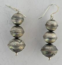 Sterling, Native American, Navajo hand made bead earrings large, hand stamped