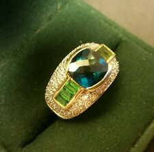 Mens Art-Deco Vintage 14CT Yellow Gold 1ct Topaz Peridot Dia Cluster Ring Size M