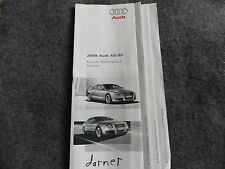 2008 Audi A5 / S5 Quick Reference Guide Owners Manual Supplement