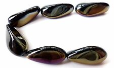 24 (mm) COATED BLACK CZECH GLASS BRAZIL NUT/OBLONG BEADS - 6PCS - B017