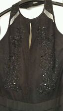 NEXT CLASSY EMBELLISHED HALTERNECK BLACK MAXI DRESS SIZE 8 TALL NEW WITH TAGS