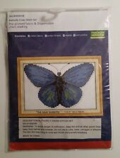 Cross Stitch Complete Kit Set The Blue Butterfly 25 x 19 cm on 11 Count Cloth