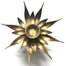 """Brass 6"""" Lotus Flower on Turtle Back Brass Candle Holder Oil Lamp Antique Style"""