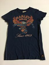 Harley Davidson By Trunk Womens S Small Blue T-shirt Tee Rhinestones Embellished