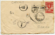 GOLD COAST 1948 POSTAGE DUE TAXE 15 GOLD CENTIMES + NY 6c FLORIDA..ACCRA MACHINE